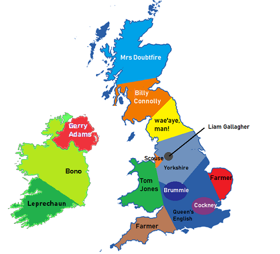 English phonology pronunciation guide my english language map of british regional accents gumiabroncs Gallery